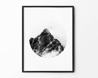 Mountain Wall Art, Winter Print, Foggy Mountain, Nature Wall Art, Tree Decor, Winter Art, Black and White, Photography Print, Natural Decor,
