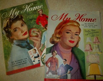 My Home, vintage British women's  magazines, two from 1958, decorating, knitting, fiction,  etc.