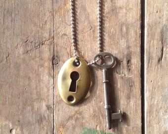 Vintage Key Hole and  Vintage Skeleton Key on Ball Chain Necklace