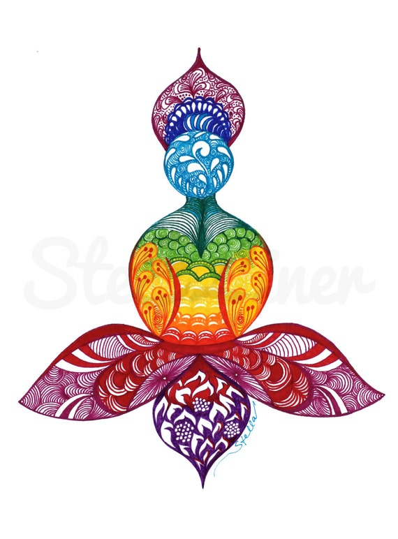 Yoga Art  Zentangle LOTUS - print from original design and drawing, yoga wall decor