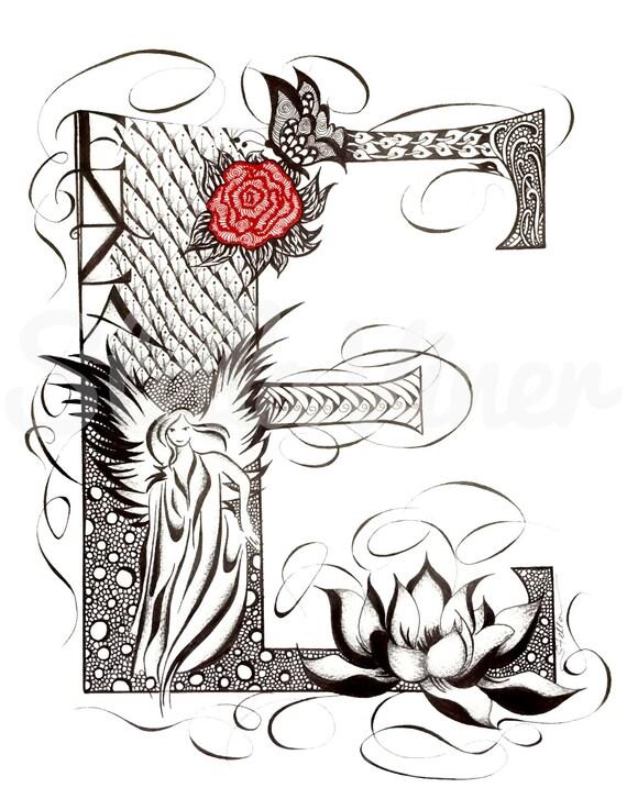 Custom Hand Drawn Original Monogram Letter E - 11x14  wall decor, wall art by Stella Viner