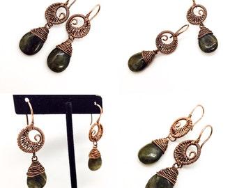 Copper Swirly Moon Dangle Earrings with Labradorite Tear Drops