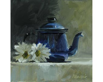 Blue Metal Pot with Chrysanthemums, Enamelware Teapot with Flowers