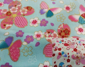 Cherry blossom and butterfly, gold metallic, 1/2 yard, pure cotton fabric