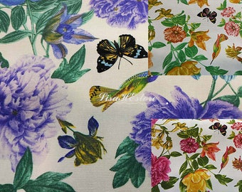 Hummingbird butterfly and peony, 1/2 yard, pure cotton fabric