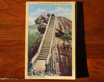 Vintage Linen Postcard - North Carolina -  - Chimney Rock  - 1950's - Scenic  - Midcentury Souvenir - American Road