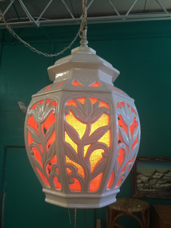 Vintage 1960s Ginger Jar Ceramic Swag Lamps