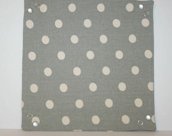 Collapsible Fabric Tray - gray with biege polka dots