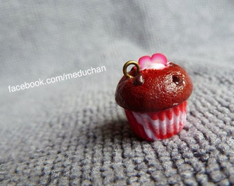 Red velvet muffin polymer clay charm