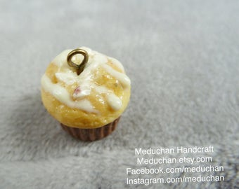 Cute Miniature frosted vanilla pinenut muffin polymer clay charm