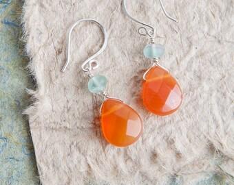 Orange Earrings, Carnelian Earrings, Silver, Tangerine Earrings, Gift for Her, Winter Moon Collection