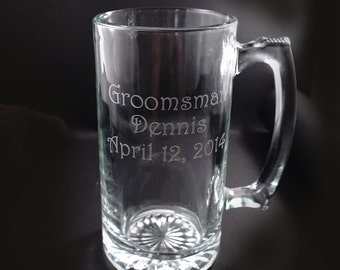 Custom Etched Beer Mugs - Personalized Beer Mugs for your wedding party - Set of 6 - Groomsman Gift - Father of the Bride - Etched Beer Mugs