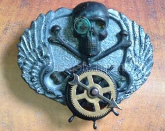 Steampunk Pirate Skull Belt Buckle Bad Azz