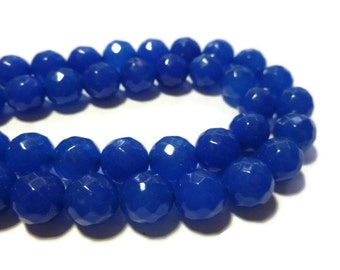 Blue Jade - 10mm Faceted Round Bead - Full Strand - 38 beads - blueberry stone