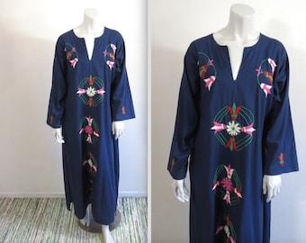 Vintage 70s Embroidered Hippie Boho Caftan Festival Dress