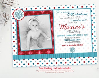 Girl Winter Onederland Invitation, Onederland Birthday Invitation, Winter Onederland Invitation Girl, Winter Birthday Invitation, Snowflake
