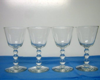 4 Vintage Clear Imperial Wine Candlewick Barware Glasses