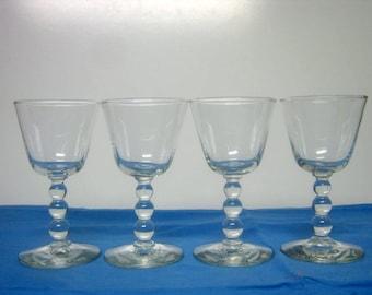4 Vintage Clear Imperial Wine Candlewick Barware Glasses