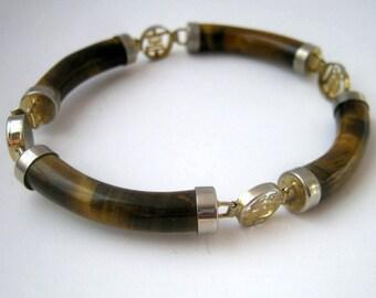 Vintage Chinese Longevity Tiger Eye Link Bracelet