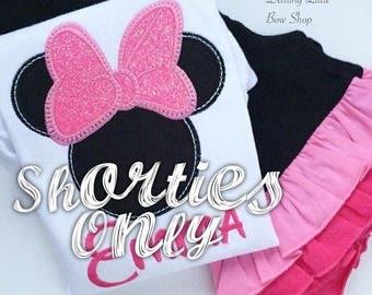 Pink and Black Ruffle Shorties, Ruffle Shorts - Pink Minnies - knit ruffle shorties sizes 12m to girls 10 - Free Shipping