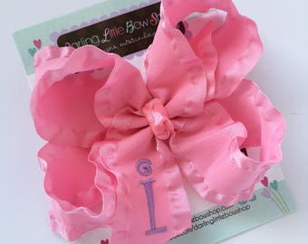 Monogrammed Bow ---you choose initial and colors---