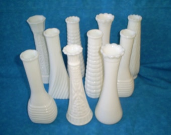 SALE  Set of 10 Vintage, Milk Glass  vases. Was 34.00.
