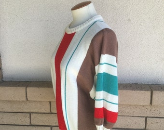 Vintage 80s Striped Pullover Sweater w/Dolman Sleeves Size L