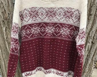 Mens Vintage Nordic Sweater Circa 80s Size Medium