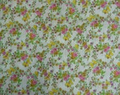"""1970's floral fabric by Styleset Fabrics 2 yds. x 45"""" cotton with pink, orange  and gold flowers and butterflies off the bolt condition"""