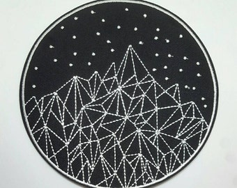 1pc Extra Large Mountains and Night Sky Embroidered Applique Patch. Iron On or Sew On Badge for T-shirts, Jackets, Shirts. 14cm wide