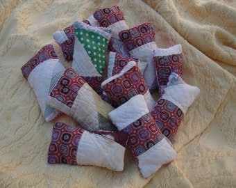 Old Quilt Sachets---Collection of 12---Lavender sachets---OOAK---Ready to ship---FREE Shipping