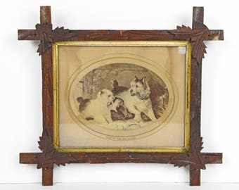adirondack frame, carved leaf, terrier dogs, terrier print, wood, 1800s, victorian, arts and crafts, 15.5x14, tramp art, folk art, rustic