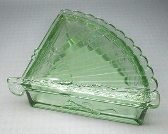 Green glass box , shape of a folding fan depression glass ?