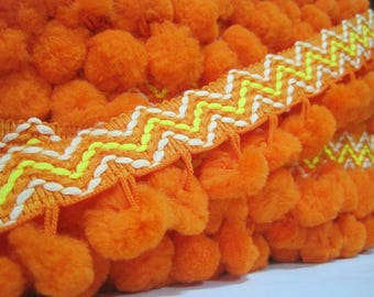 5 yards Orange-Red Extra Large Pom Pom Trim Stitch Ribbon, Large Pom Pom Trim, orange pom pom fringe, orange trim, boho fringe,orange pompom