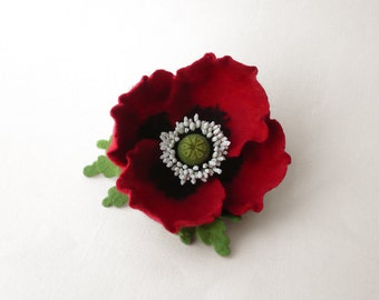 Felt brooch red poppy flower, ready to ship