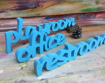 Playroom sign office sign restroom sign wood signs wooden letters business signs door signs  custom door sign personalized door sign