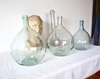 19th Century 1 French Antique Demijohn, French Hand-blown Glass  french wine water green bottle  - wine, french vintage demijohn