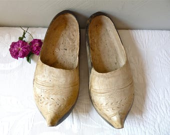 Antique wooden clog from Ariège, South West of France - decorative shoes