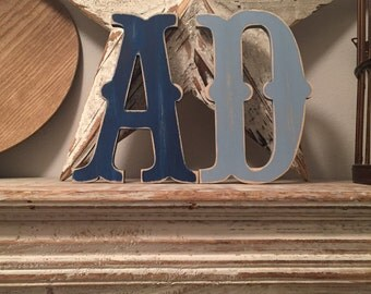 Painted Wooden Letters - Per Pair - Any Letters, Circus Font, 40cm high, 16 inch, any colour, wall letter, wall decor, 18mm