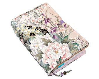 Book Cover Handmade in Kimono Silk Fabric, Flower Carriages, Bible Cover, UK Seller, Suitable for Hardback or Paperback