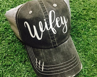 Wifey Gray Simple Baseball Ladies Womens Trucker Hat