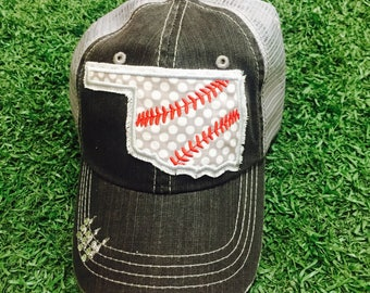 Oklahoma State Baseball stitches Bling Ladies Womens Trucker Hat