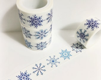 Brillant Blue Watercolor Snowflakes Pretty Intricate Delicate Snowflakes Washi Tape 5.5 yards 5 meters 20mm