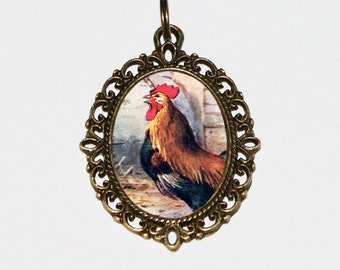 Rooster Necklace, Bird Jewelry, Chicken, Farm Animal, Bronze Oval Pendant, Year Of The Rooster