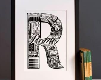 Rome letter R print
