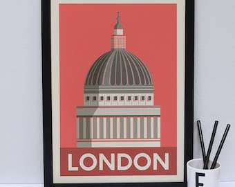St Pauls Cathedral print                       -  London artwork - London print - London Architecture - London design - Statement poster