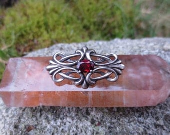 Gothic Style Sterling Silver and Blood Red Garnet Brooch Pin