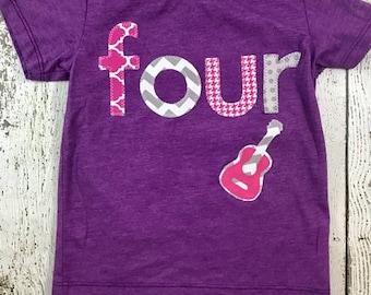 Girl's birthday shirt, rocker party, Rockstar birthday, rocker party, rockstar shirt, rock and roll party, guitar decor, guitar shirt