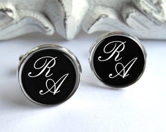 Mens Cuffinks, Personalized Monogram Cufflinks, Custom Wedding Cufflinks