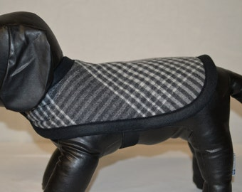 xs small Wool Dog Coat Jacket Sweater Classy Grey Plaid Dog Coat adjustable NYC Manhattan Dog warm mid-weight wool dog coat jacket sweater
